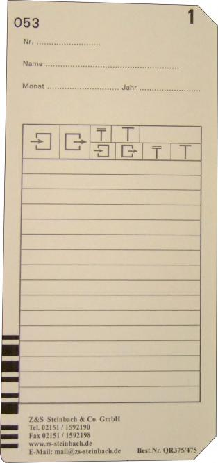 Stempelkarte Bürk K875 / K975